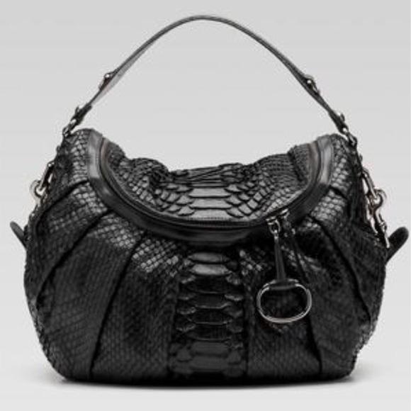 d103d8a2920 Gucci Handbags - Gucci Large Black python Icon Bit Bag